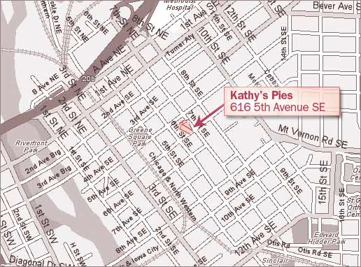 Map directions to Kathy's Pies Iowa